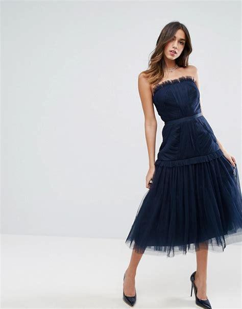 Midi Dress Wanita Pinguin Navy asos asos strapless panelled drop waist tulle midi dress