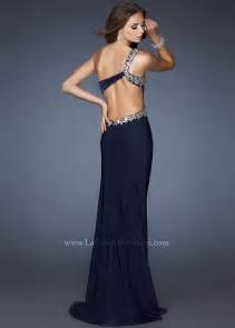 Gigi 18783 navy blue one shoulder open back prom dress in black and