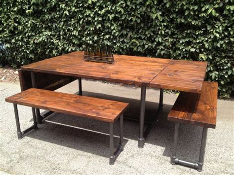 galvanized pipe bench handmade wood and galvanized pipe drop leaf table and bench set industrial rustic
