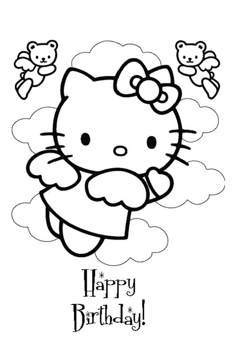 hello kitty coloring pages happy birthday az coloring pages