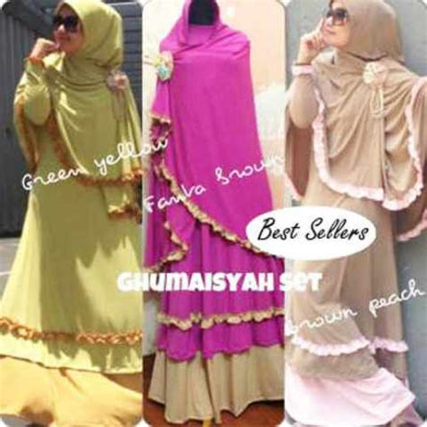 Dress Busana Muslim Syari 3in1 Maxibusuibergo baju gamis kerudung mix renda ghumaisyah koleksi busana