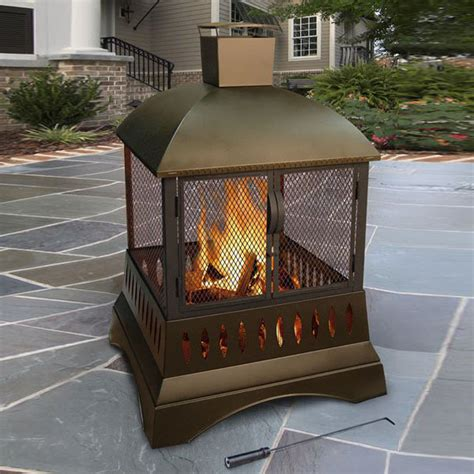 Metal Wood Burning Fireplace by Shop Landmann Usa 33 5 In W Metallic Brown Steel Wood