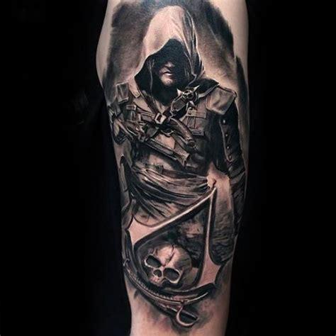 assassins creed tattoo sleeve 80 gamer tattoos for men video game design ideas