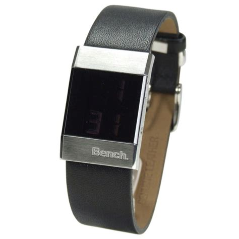 bench watches for women bench women s silver case black strap watch clothing thehut com