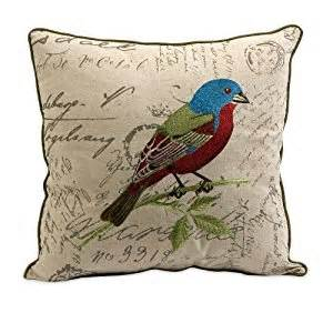 imax betsy embroidered bird pillow throw