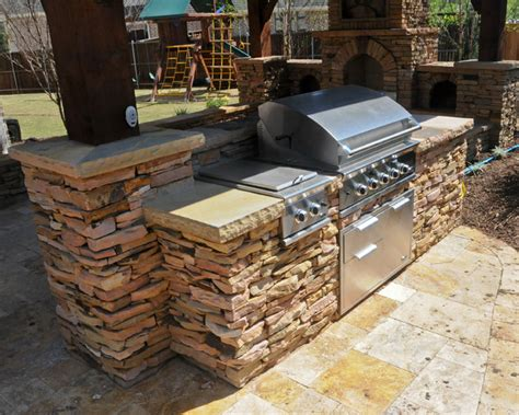 Backyard Grill Station Overhead Structure Grilling Station Fireplace