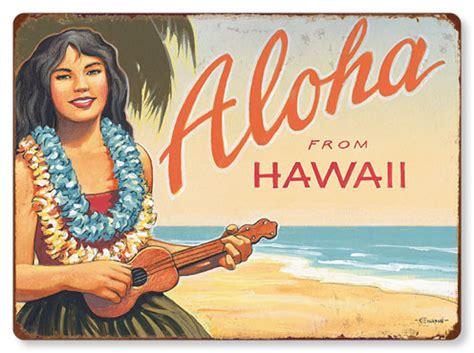 Magnet Kulkas Dari Amerika Aloha Hawai Usa hawaiian vintage metal signs aloha from hawaii kerne erickson islandartstore