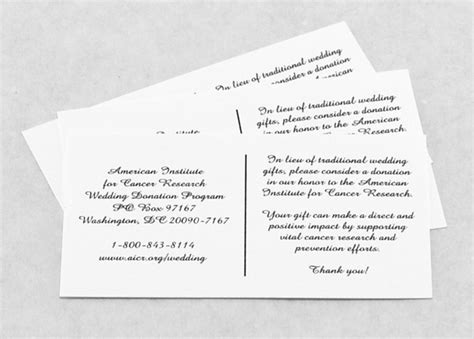 Wedding Invitations Inserts by Aicr Wedding Donations And Favors