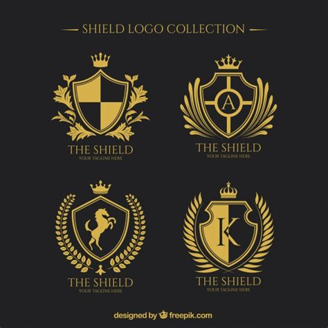 logos of golden shields collection vector free download