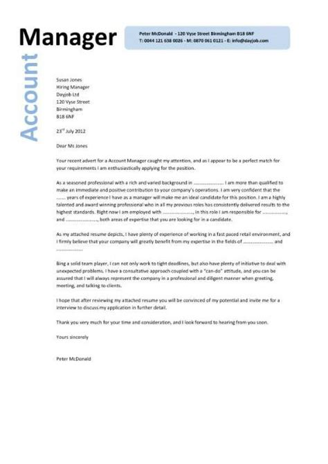 Cover Letter For Account Executive by Sale Account Manager Cover Letter