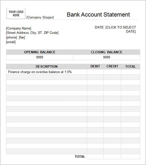 excel bank account template bank statement template 13 free documents in