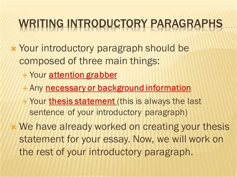 thesis paragraphs writing introductory paragraphs ppt