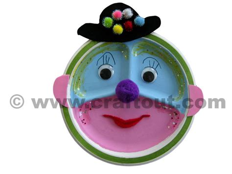 Clown Paper Plate Craft - clown craft out