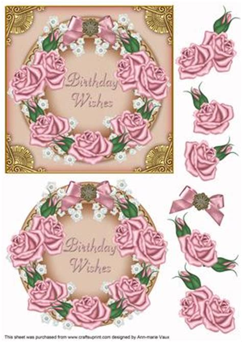 3d Decoupage Tutorial - pink roses birthday wishes decoupage 3d ring sheet