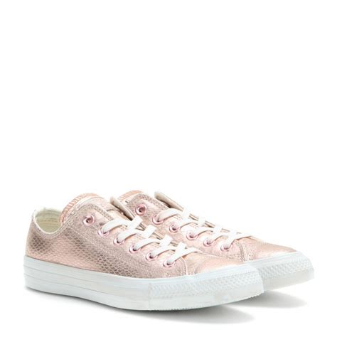 converse chuck taylor ox metallic leather sneakers  pink