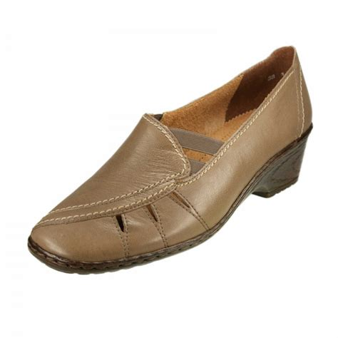 51187 06 taupe leather wedge shoe
