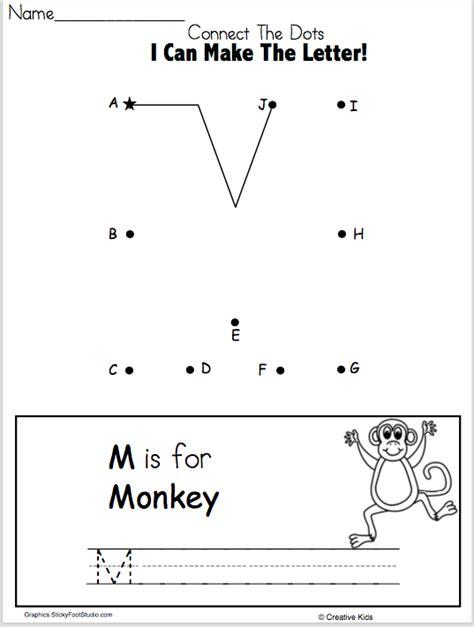 letter m writing worksheet and dot to dot kindergarten