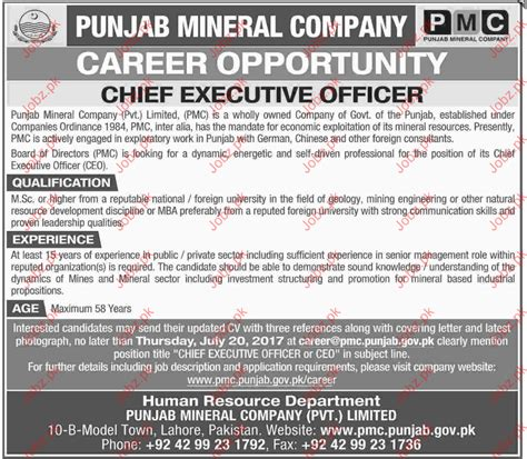 Chief Administrative Officer Salary by Chief Executive Officer In Punjab Mineral Company
