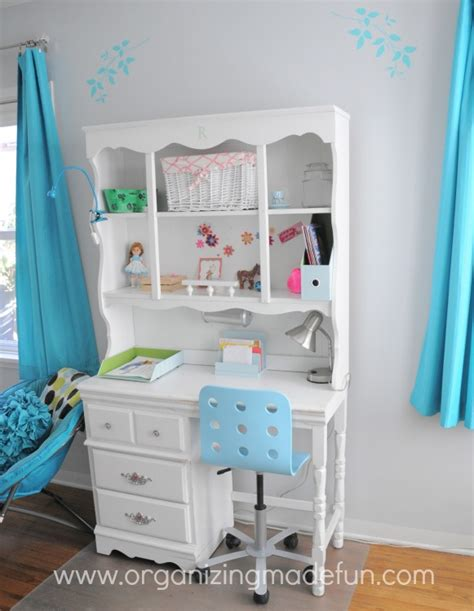 girls bedroom desk turquoise girls room final reveal organizing made fun turquoise girls room final