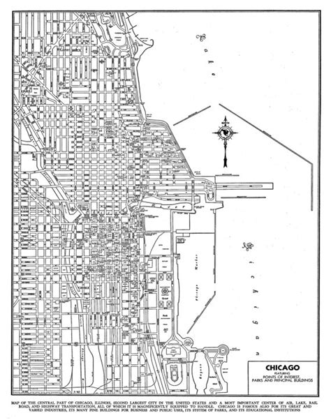 chicago map black and white 1944 chicago map vintage print poster