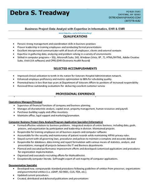 data analyst resume yahoo template exles of resumes