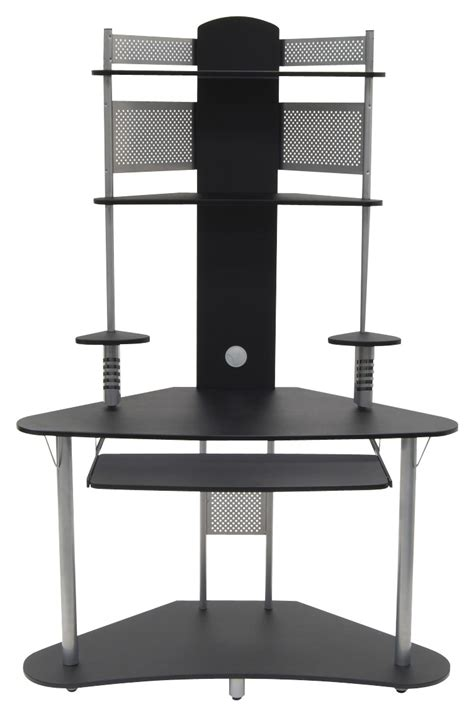 silver and black computer desk calico designs arch tower computer desk black 50510 best buy