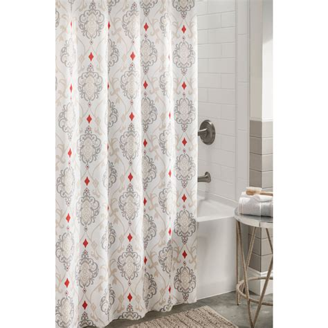 Grey Patterned Curtains Shop Allen Roth Polyester Grey Patterned Shower Curtain At Lowes
