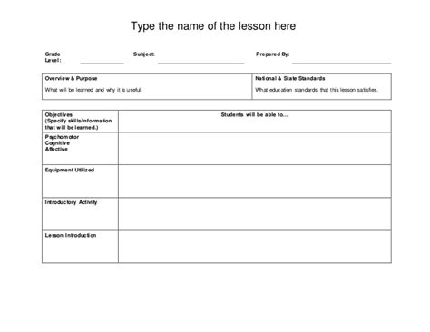 Basic Lesson Plan Template by Basic Lesson Plan Template