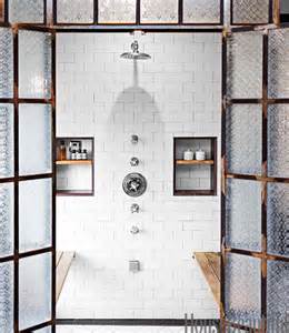 industrial shower door mix and chic an industrial chic bathroom in los angeles
