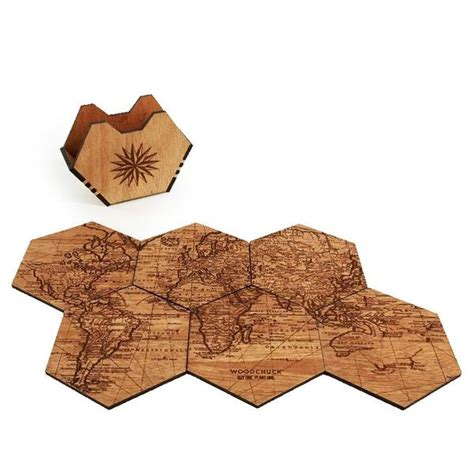 Wooden Drink Coaster by Wood Coasters Set Of 4 Coaster Set Woodchuck Usa