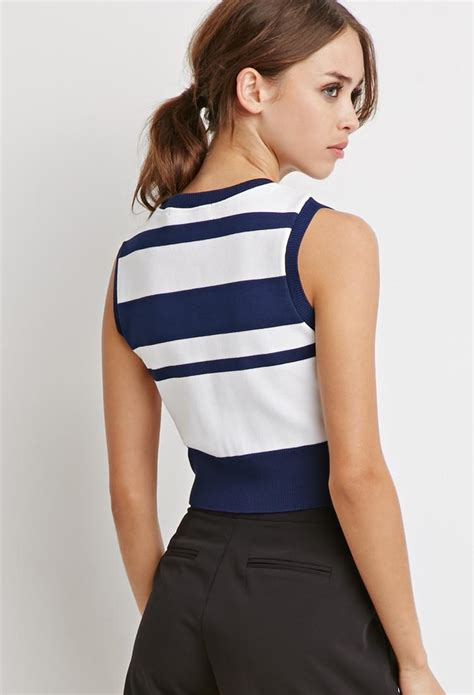 Atasan Striped Crop Bahan Spandeks Rayon forever 21 stripe sweater crop top in blue lyst
