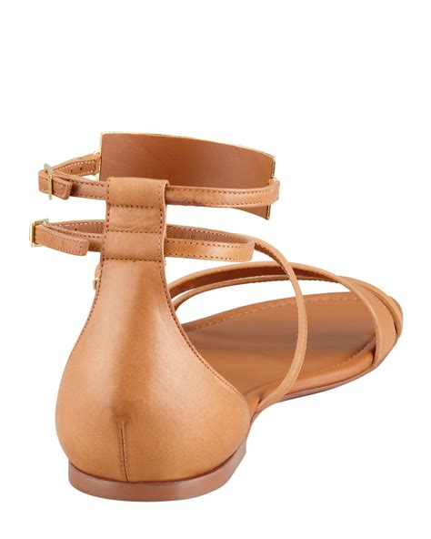 laurent womens strappy flat leather sandals cofov