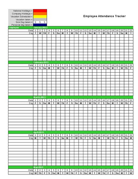 free employee holiday tracker 2016 calendar template 2016