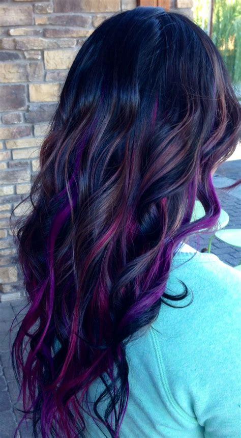 best purple shoo for highlights purple and blue streaks in brown hair www pixshark com