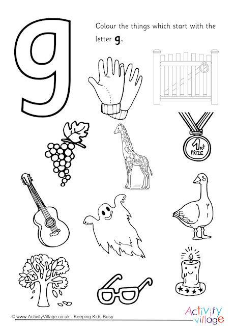 colors that start with g start with the letter g colouring page
