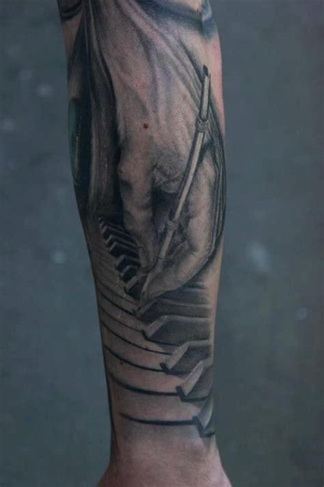 black and grey key tattoo piano sleeve tattoo by bacanu bogdan tattoo cheltenham