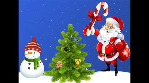 santacruz with christmas tree animated jingle bells jingle bells santa claus merry chirstmas song decorate tree