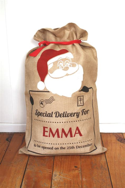 personalised hand screenprinted santa sack santa claus felt