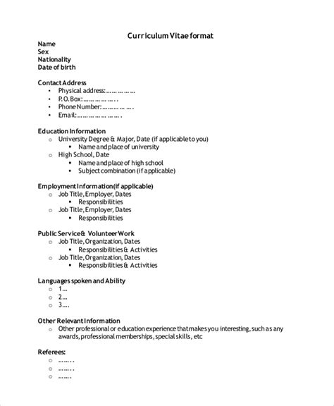 simple resume format for freshers in pdf 9 simple resume formats sle templates