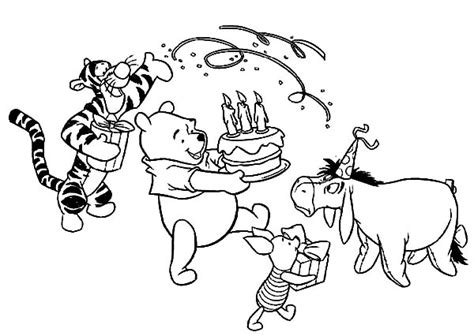 disney birthday for winnie the pooh coloring pages disney