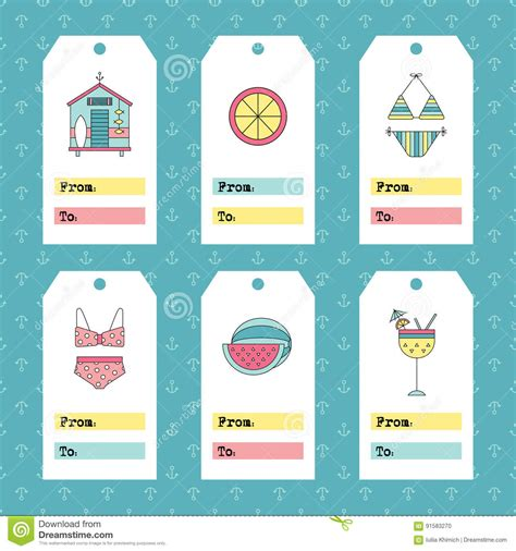American Greeting Card Address Label Template by Summer Set Of Tags Stock Vector Image 91583270
