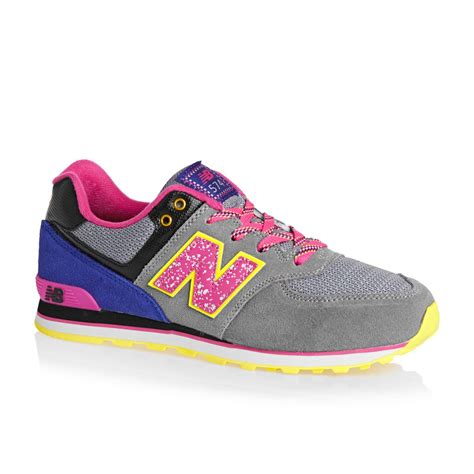 New Balance 574 Grey Blue new balance 574 trainers grey pink blue