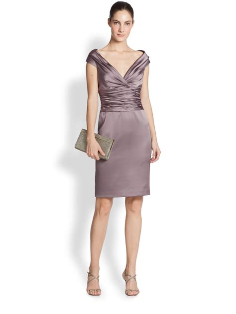 Dress Of The Day Unger Silk Cocktail Dress by Unger Satin Ruched Waist Cocktail Dress In Purple Lyst