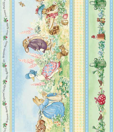 Beatrix Potter Quilt Fabric by Beatrix Potter Garden Tales Border Fabric By Quilting Fabrics