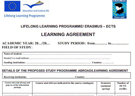 Student Agreement Template learning agreement esn slovakia