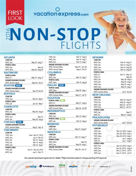 2016 vacation express charter schedule travel by bob