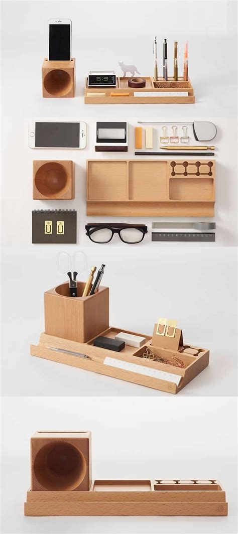 telephone stand desk organizer wooden office desk stationery organizer pen pencil holder