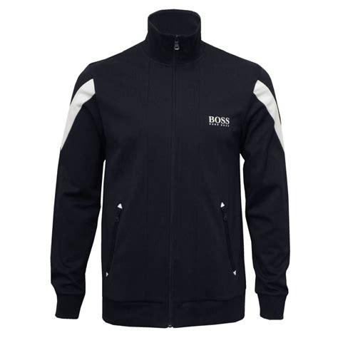 Jaket Hoody Pique hugo pique cotton zip tracksuit jacket navy with white underu