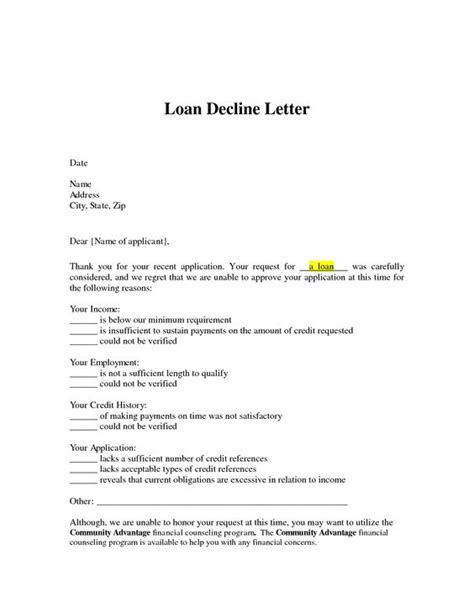 Declined Credit Card Letter To Customer Loan Decline Letter Loan Letter Arrives You Can Use That Information To See If Your