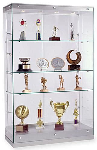 trophy display cabinets with glass doors this silver trophy case with tempered glass ships out